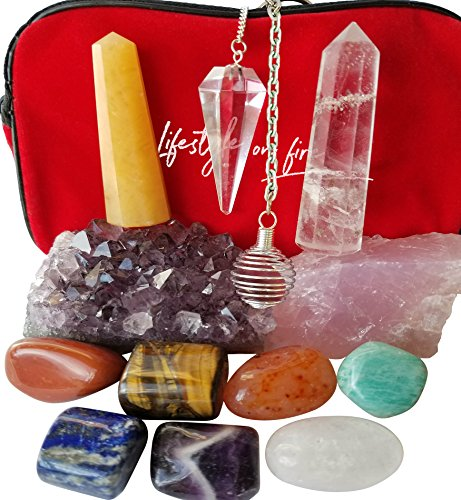 Natural Chakra Stones Set w/ Amethyst Crystal, Rose Quartz, Lapis Lazuli, Clear Quartz Obelisk & Tiger Eye – Chakra Crystals for Reiki, Meditation & Massage – Ebook, Velvet Pouch & Keychain Included!