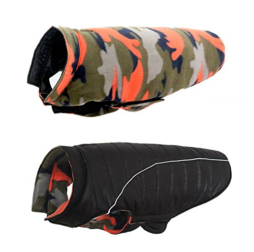 QBLEEV Reversible Dog Windproof Coats Jackets Cold Weather Apparel Cozy Puppy Pet Clothes Accessories Large Medium Dogs by, Black/Orange Camo,Ideal for Samoye Husky Folden Retriver(L)