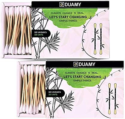 600 bastoncillos ecológicos de algodón y bambú naturales. 2 packs ...