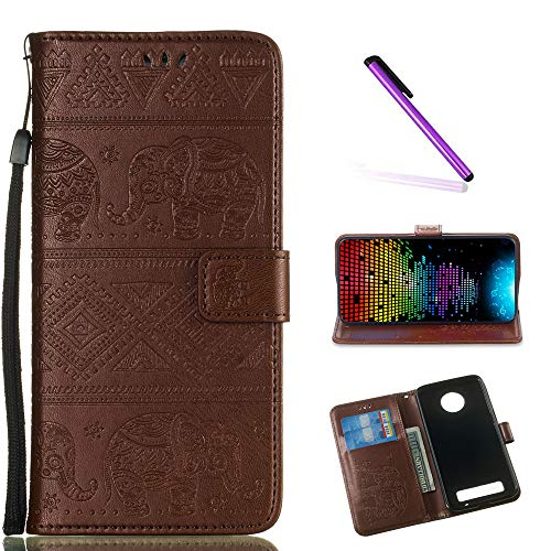 - LEECOCO Case for Moto Z3 Play Unique Embossed Wallet Case with Card Cash Holder Slots Wrist Strap [Kickstand] PU Leather Folio Flip Case Cover for Motorola Moto Z3 Play Elephant Brown