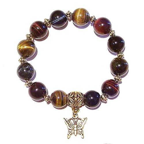 Gold Tone Tigers Eye Bracelet - Brown, Red & Blue Tiger's Eye Gemstone & Antique Gold-Tone Handmade Stretch Bracelet