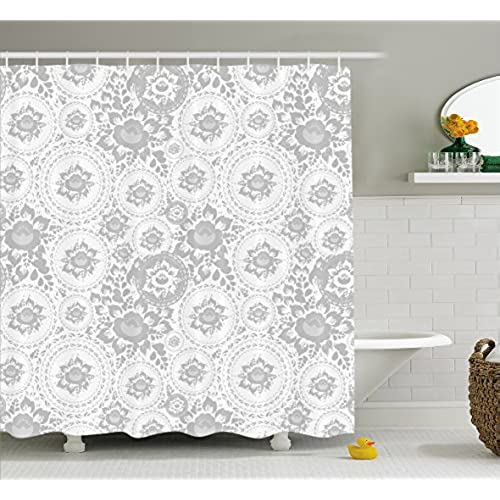 Attrayant Grey Decor Shower Curtain By Ambesonne, Shabby Chic Medieval Slavic  Monochrome Rose Petals Florets Ethnic Fragrance Artwork, Fabric Bathroom  Decor Set With ...