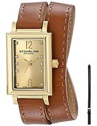 Stuhrling Original Women's 810.SET.02 Vogue Audrey Paris Swiss Quartz Gold Tone Wrap-Around Leather Additional Strap Watch Set