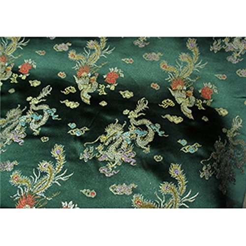 (Chinese Faux Silk Dragon Peacock Brocade Satin Fabric Sold By The Yard (Hunter Green))