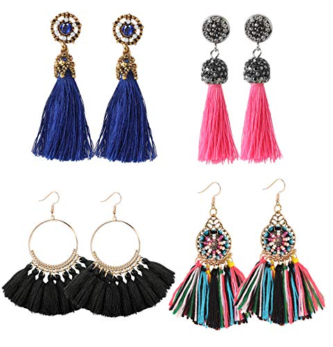 LOYALLOOK Tassel Earrings for Women Black Layer Tassel Drop Earrings Rhinestone Thread Tassel Earring Set, 4pairs