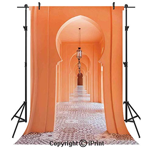 Arabian Photography Backdrops,Moroccan Walkway with Islamic Motifs and Arabic Artsy Elements Visual Oriental Photo,Birthday Party Seamless Photo Studio Booth Background Banner 10x20ft,Orange -