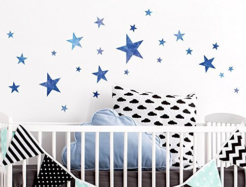 I-love-Wandtattoo WAS-10108 Wall stickers Kids ''Watercolor stars in blue'' Sticker Wall Decal Boy Girl