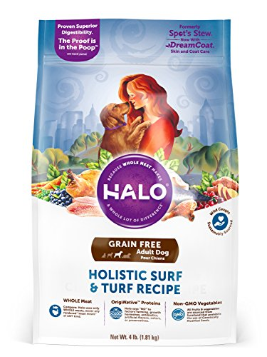 Halo Grain Free Natural Dry Dog Food, Surf & Turf Recipe, 4-Pound Bag (Halo Dog Food Grain Free)