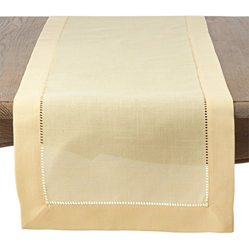 SARO LIFESTYLE Hemstitched Trim Border Table Runner, 16'' x 72'', Yellow by SARO LIFESTYLE
