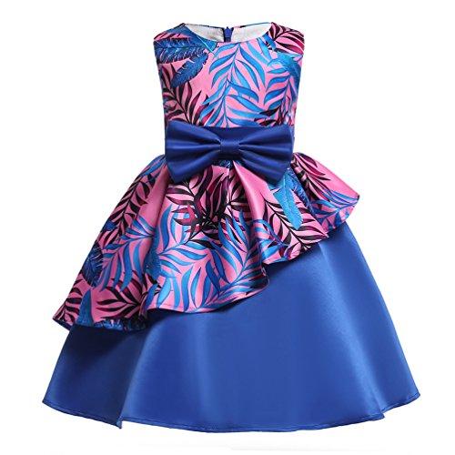 Rysly Kids Sleeveless Pageant Dress Flower Bow Party Wedding Dresses for Toddler Girl-120-blue ()