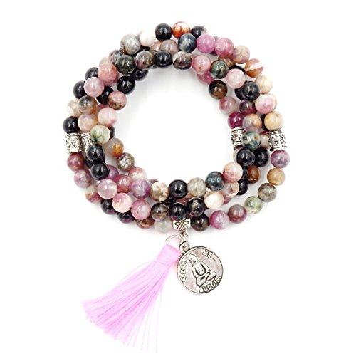 Mala Beads Bracelet, Buddhist Mala Prayer Beads, Buddha Bless Me Statement Necklace (Tourmaline) Buddhist Mala Beads