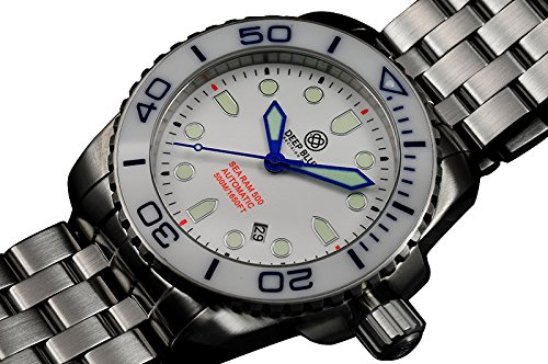 Auto Diver Watch (DEEP BLUE SEA RAM 500 AUTO DIVING WATCH WR 500m WHT/BLU BEZEL WHT DIAL BLU HANDS)