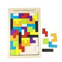 Kaimus Tetris Tangram Puzzles en Bois Multicolores Formes géométriques Jouets éducatifs 40 Pcs Intelligence Jouet éducatif pour Les Enfants à partir de 3 Ans