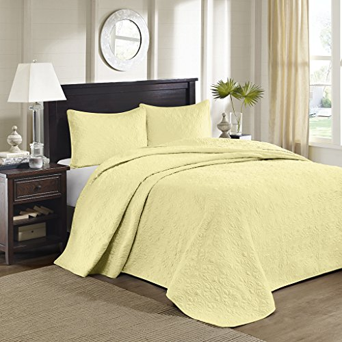 Madison Park Quebec 3 Piece Bedspread Set Yellow Queen