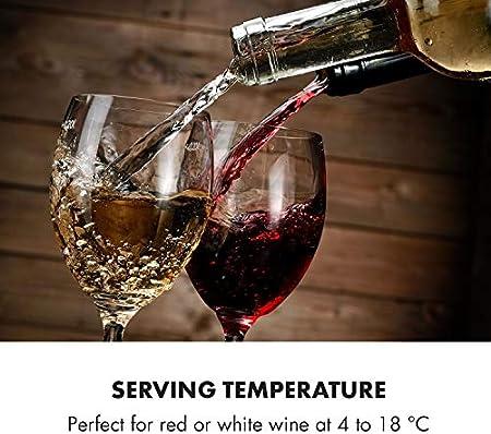 Klarstein Vinamour 19 - Nevera para vinos con puerta acristalada, 19 botellas de vino, 65 L, 4-18°C, solo 39 dB, Iluminación interior, Control táctil, Marco de acero, Antracita[Clase de eficiencia energética G]