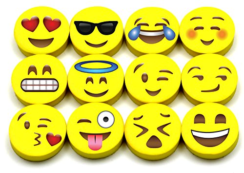 Emoji Erasers, 60-Pack Fun Cute Pencil Erasers for Kids, Great for Rewards, Party Favors, Birthdays, School Prizes, Classroom Incentives or Gifts for -