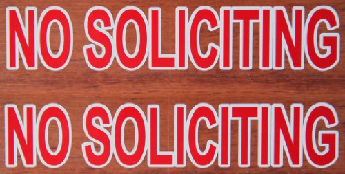 Rayna Creations 2X Premium Best reviewed NO SOLICITING sticker decal, outdoor removable low back glue (not static). This no soliciting sign is transparent red color as a stop sign ()