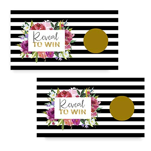 Black Stripe and Floral Scratch Off Game - Pack of 28 Cards