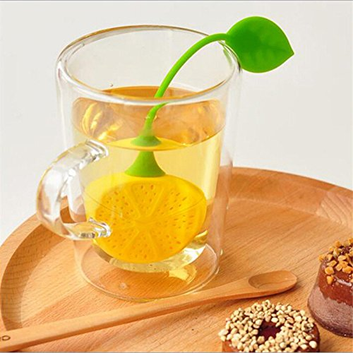Funnytoday365 2Pcs/ Lot Tea Leaf Herbal Infuser Kitchen Accessories Cute Lemon Shape Tea Filters Maker Strainer Food Silicone Cup Bag by FunnyToday365 (Image #2)