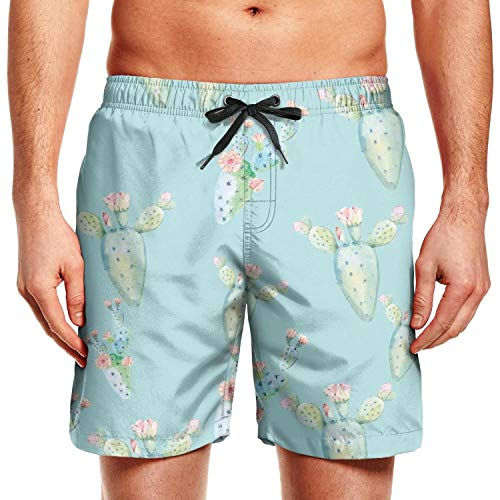 Trunk Flowering (Himgre Men's Beach Shorts 3D Printed Swim Trunks with Pockets Flowering Cactus Bathing Suits)
