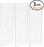 Grid Panel for Retail Display – Perfect Metal Grid for Any Retail Display, 2' Width x 6' Height, 3 Grids Per Carton (White)