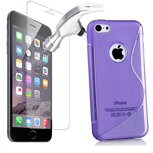 Hülle Glas Folie f Apple iphone 6 Schutz Tasche Case Schutzhülle S Line Bag Lila