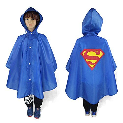 TEKIMBE Cute Baby Kids Raincoat Poncho Cape Waterproof Rainwear Hood Jacket Superhero Superman Cosplay Costume (Blue Raincoat Costume)