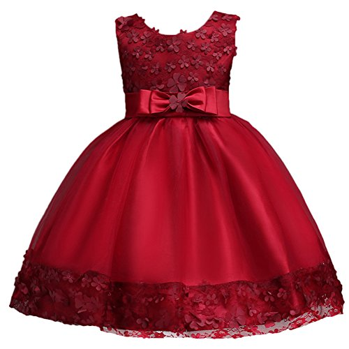 (Baby Girl Short Lace Flower Princess Wedding Party Pageant Birthday Tutu Dress Evening Baptism Christening Gowns(12M-10T) Burgundy 6-7 Years)