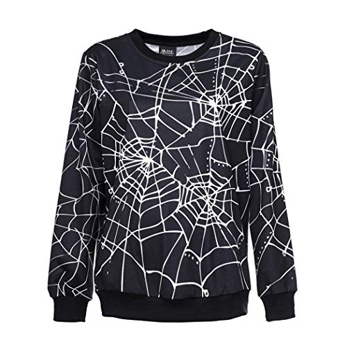 Gobling Womens Scary Halloween Spider Web 3D Print Party Long Sleeves Top Sweatshirt (Color : Black, Size : L)