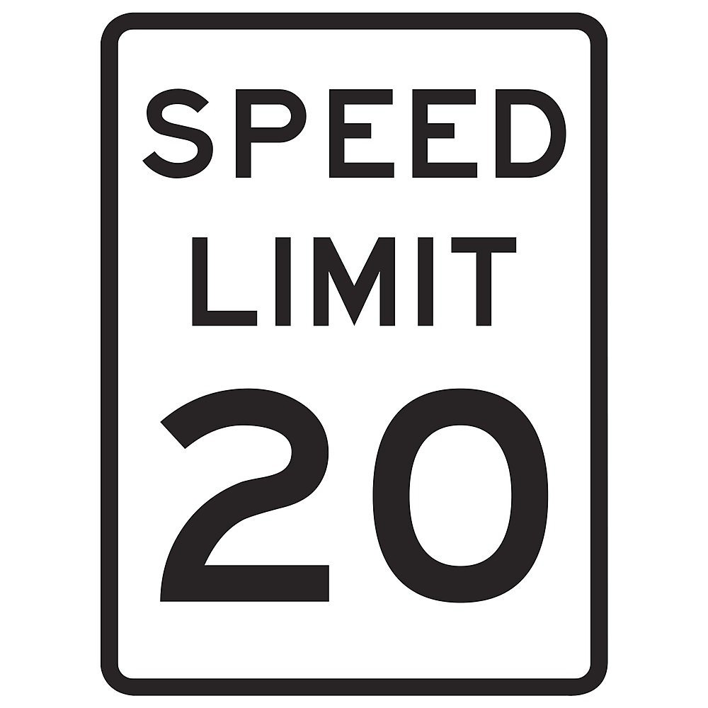 Tapco R2-1 High Intensity Prismatic Rectangular Lane Control Sign, Legend ''SPEED LIMIT 20'', 18'' Width x 24'' Height, Aluminum, Black on White
