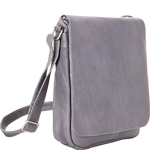 Le Donne Leather Flap Over Shoulder Bag (Gray) (Vacquetta Bag Shoulder Leather)