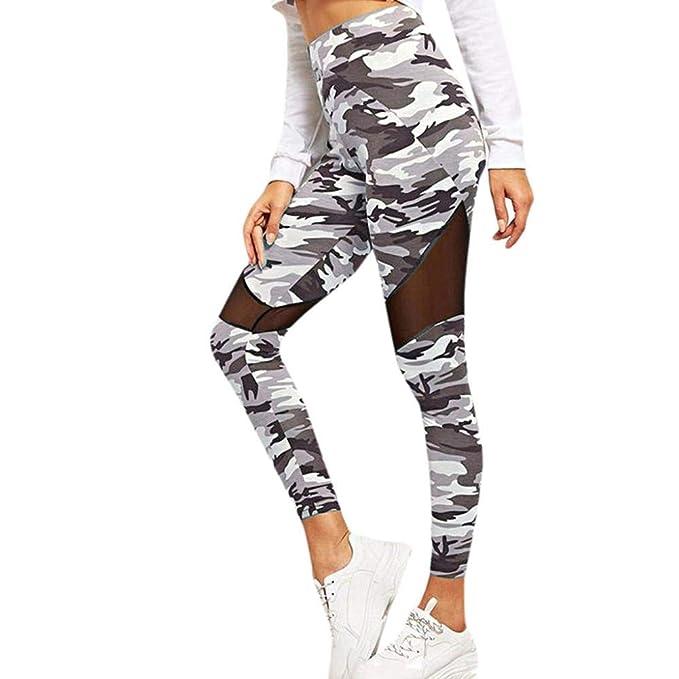 VJGOAL Mujer Pantalones de Yoga Camuflaje Estampado de Malla ...