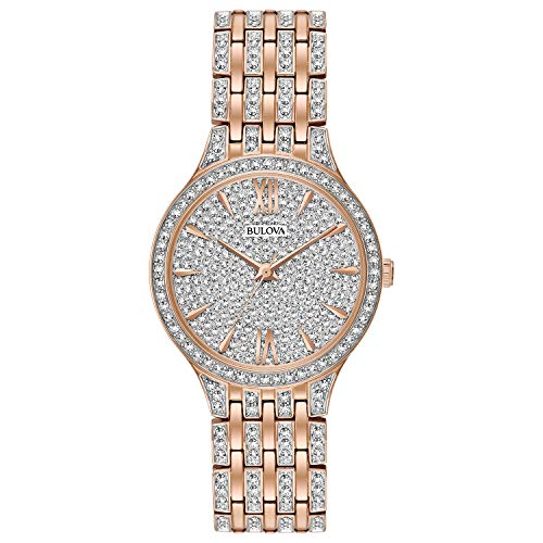 - Bulova  Women's  98L235 Swarovski Crystal Rose Gold Tone Pave Bracelet Watch