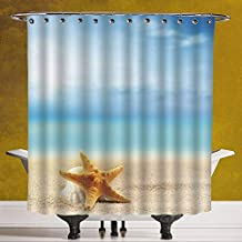 SCOCICI Stylish Shower Curtain 3.0 [ Starfish Decor,Scallop Seashell and Starfish Close Up on Sandy Beach Idyllic Ocean Backdrop Decorative,Multicolor ] Fabric Bathroom Decor Set with Hooks