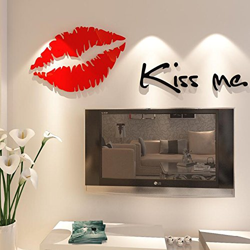 DIY 3D Kiss Wall Decor Murals Living Room Bedroom Backdrop Background Sticker
