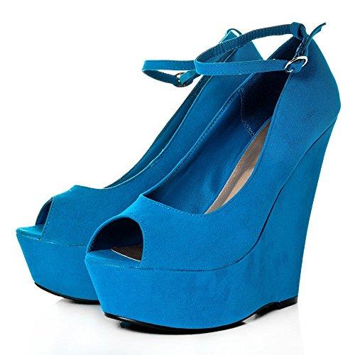 Absatz Peep Toe hohem und Keilabsatz Absatz mit BLUE SUEDETTE wYFxzqBY