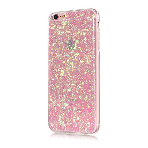 Price comparison product image Moonmini Ultra Slim Fit Bling Glitter Shiny Soft TPU Beauty Back Case Cover for iPhone 6 Plus / iPhone 6s Plus - Pink