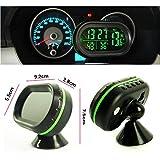 nihao Car Voltage 12V Digital Monitor Temperature Thermometer Battery Alarm Clock LCD