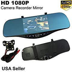 "JDM Style Universal 300mm Blue Tint Front & Rear Camera Video Recorder Rearview Mirror with Adjustable 5"" Full 1080P HD Monitor. Easy Installation Using Provided Mirror Holder with No Modification. High Quality 13 Mega Resolution Video. G..."