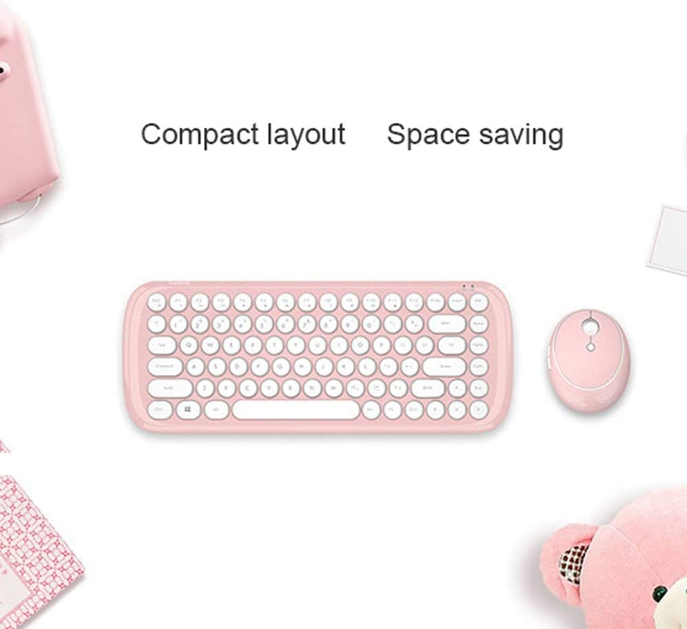 Windows Laptop Wireless Keyboard and Mouse Set Round Key,Compatible with Windows PC 2.4Ghz Ergonomic Compact Combo Pink Notebook