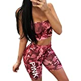 Womens Girls Summer Two Pieces Outfits Camo Printed Deep V-Neck Crop Top Shorts Hot Pants Bodycon Bandage Party Club Dress Pink L