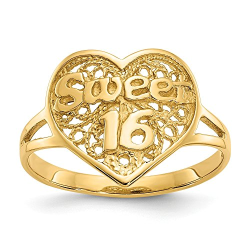 14k Yellow Gold Sweet Sixteen Girl 16 Birthday Heart Band Ring Size 6.00 S/love Fine Jewelry Gifts For Women For Her ()