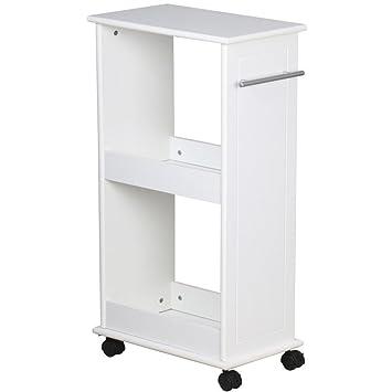 Amazing Rolling Slim Wooden Shelf Cart Narrow Slimline Storage Shelf Bathroom  Kitchen Space Saver | White