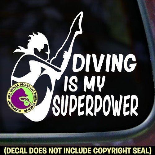 DIVING SUPERPOWER SPRINGBOARD DIVER Female Vinyl Decal Sticker A