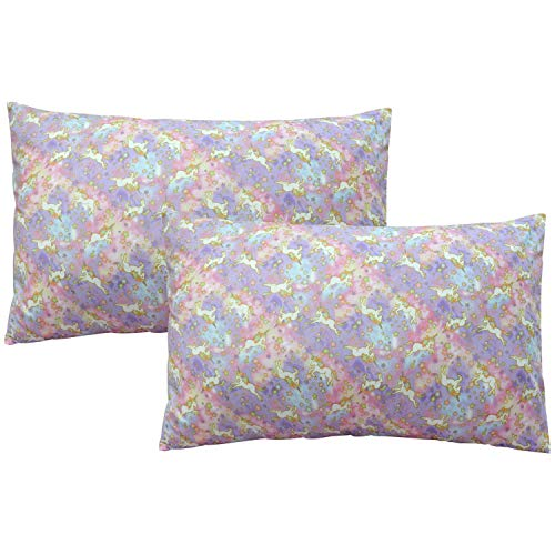 Brandream Kids Pillow Cases Set of 2 Standard Size Pastel Unicorn Pillow Covers Decorative Cotton Pillow Cases ()