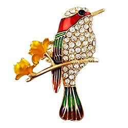 Hummingbird Brooch In Gold Tone With Crystal