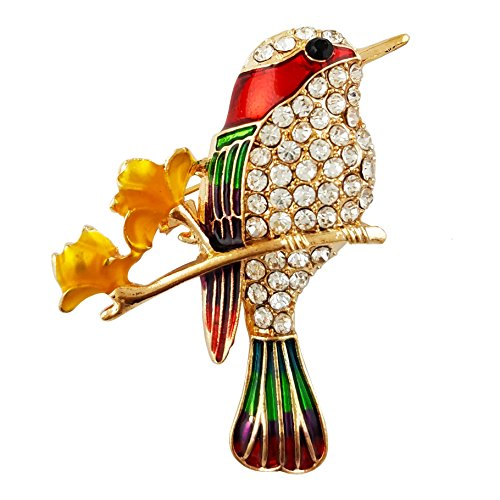 - SELOVO Bird Flower Enamel Hummingbird Brooch Pin Gold Tone Clear Crystal