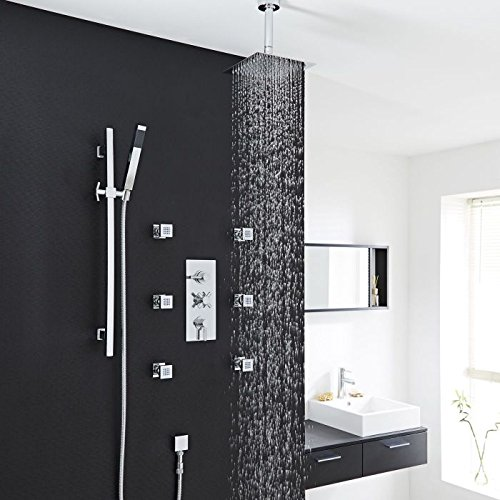 Tec Thermostatic Shower System Hudson Reed In Chrome Plated Finish With Triple Brass Valve, 8'' Rain Head, Square Rail Kit, Hand spray & 6 Massaging Spa Jets by Hudson Reed