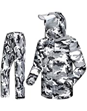 Camouflage Raincoat Suit, Adult Men and Women Fashion Waterproof Split Raincoat Rain Pants Comfortable Breathable Double Hat Outdoor Motorcycle Electric Car Riding Takeaway Golf Fishing Snow Camo Net