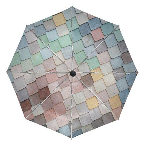 Jere Retro Mermaid Wall 3 Folds Auto Open Close Anti-UV Umbrella for Travelling